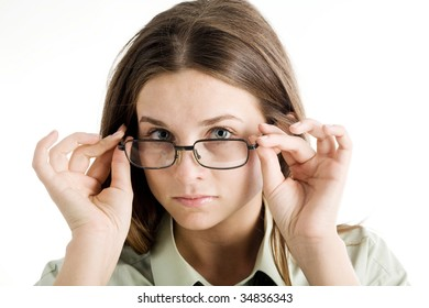 An image of a nice girl in glasses