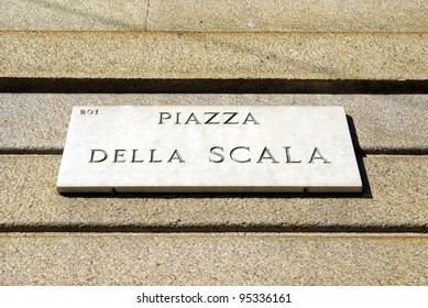 Image of a notice board of piazza Scala