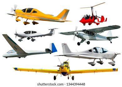 Image of numerous light planes: gyroplanes and gliders isolated on white background