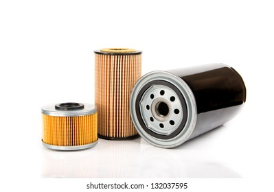 Image of oil filters isolated on white