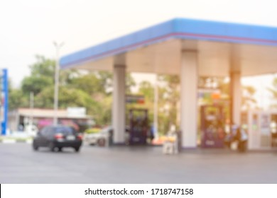 image oil station blur in the or space of oil station. have car shallow depth of focus of abstract background