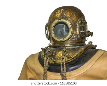 An image of an old diving suit