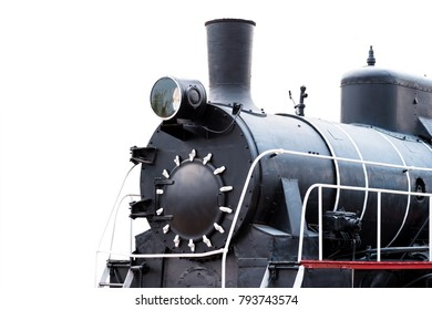 Image of an old locomotive of Soviet manufacture closeup isolated on white background