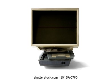 Image of old microfilm reader, isolated on white background