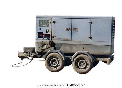 Image old mobile generator isolated on a white background.