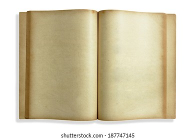 Image of old open book on white background