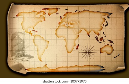 Image of an old paper world map