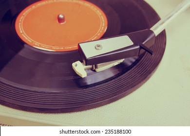 image of old record player,  retro filtered . selective focus