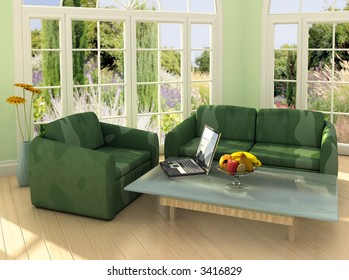 Image on the laptop is my own photograph. Modern room with french windows and laptop on the table.