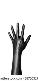 An image of one stretched up his hands painted in glossy black paint