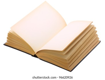 Image of open blank book isolated on white