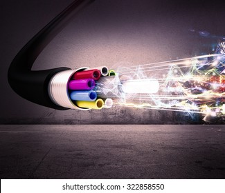 Image of an optical fiber with lights