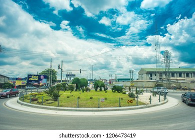 An image of Ordinance Junction/Roundabout in Port Harcourt, Rivers State/ Nigeria - September 11th 2018