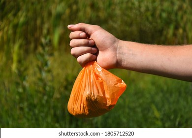 An image of an out stretched hand holding a orange plastic dog poop bag full of dog poop and ready for disposal.