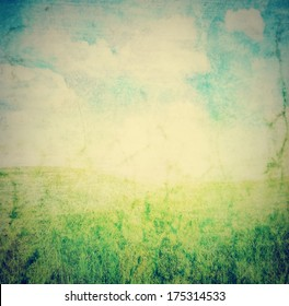 image from outdoor background series (sky and grass) done with a retro vintage instagram filter