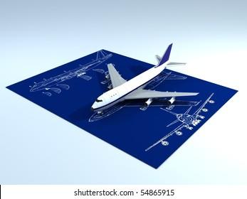 Image of passenger airplane and engineering blueprint