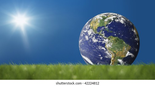 an image of peacefull blue sky and globe