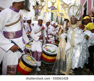 Image of the percussionists of the band Olodum, seen in the neighborhood of Pelourinho, during the Carnival of the city of Salvador (BA), BRAZIL - February 13, 2015.  *** Local Caption ***
