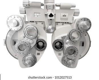 Image of a phoropter used to test eyesight, isolated on white background