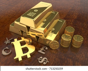 the image of the piles of gold bars, gold coins, cryptocurrency bitcoin and signs the Euro, dollar, pound sterling and Renminbi. The idea of wealth and abundance. 3D rendering