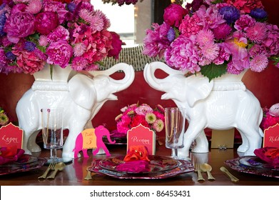 Image of a place setting for Indian wedding