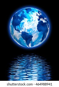 image of the planet earth in the reflection of water
