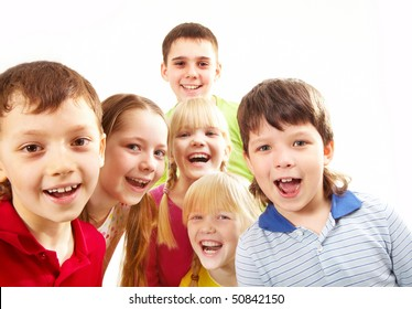 Image of playful boys and girls looking at camera