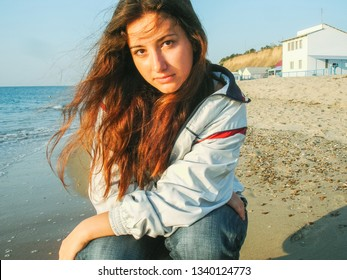 Image of plus size young simple latina woman at sea, lifestyle concept. xl model, summer vibes, vintage texture