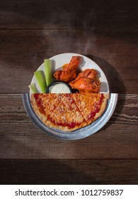Image of Popular American Bar Snacks, Pizza and Buffalo Wings