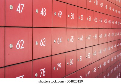 image of the post boxes in red color with white number