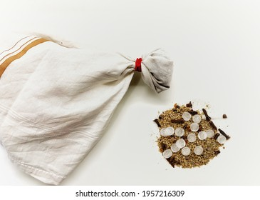 Image of potli to sniff is made of camphor, Indian spices name long or laving and carom seeds or ajwain. It is useful to gain oxygen level. And protective from COVID-19.