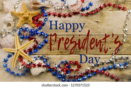 Image for President's Day in the United States includes seashells, starfish, star shaped beads on a sandy, wooden background with message added