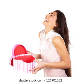 Image of pretty happy woman opening gift box isolated on white background, brunette female enjoying of present, cute teen girl laughing, romantic holiday, Valentine day, love concept