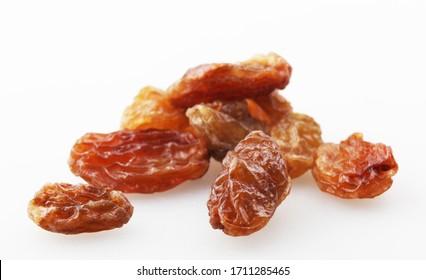 Image of raisins (aka sultanas) isolated on white background