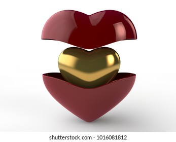 An image of a red heart is divided into two parts. Inside a hidden heart of gold. The idea of the holiday Valentine, day, love. 3D rendering