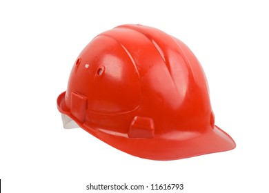 An image of red helmet isolated on white