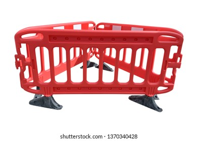 image of red street fence isolated on white background
