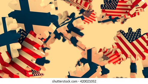 Image relative to politic and economic relationship between USA and Finland. National flags on flying cog wheels. 3D rendering