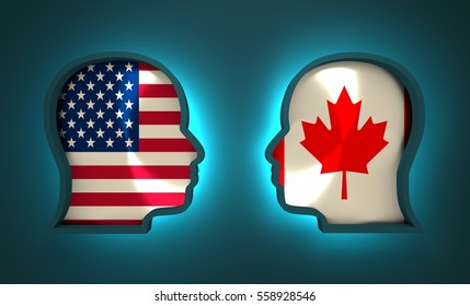 Image relative to politic and economic relationship between USA and Canada. National flags inside the heads of the businessmen. Teamwork concept. 3D rendering. Neon light