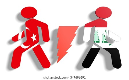 Image relative to politic relationships between Iraq and Turkey. National flags on human icons divided by high voltage sign