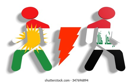 Image relative to politic relationships between Iraq and Kurdistan. National flags on human icons divided by high voltage sign