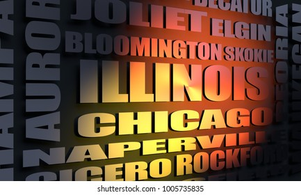 Image relative to usa travel. Illinois state cities list. 3D rendering