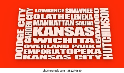 Image relative to USA travel. Kansas cities and places names cloud
