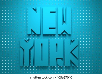 Image relative to USA travel. New York state name. 3D rendering
