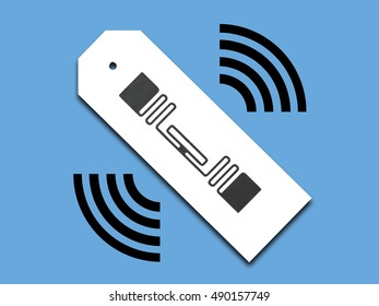 Image of RF ID (Radio Frequency Identification) tag used in distribution industry. Each tagged item is automatically identified by its radio frequency.