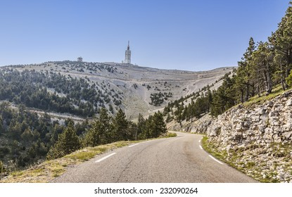 Image of the road to Mont Ventoux on the north part of the massif. Mont Ventoux is the high mountain in Provence in south of France very famous among the cyclists.