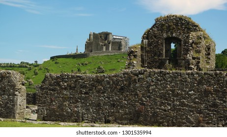 Image of the Rock of Cashel seen from Hore Abbey in the town of Cashel in County Tipperary,Ireland.