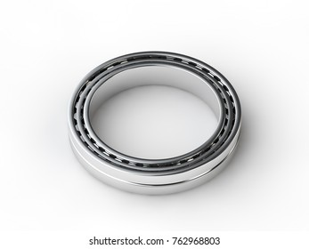 the image roller bearing closeup on a white surface. Bearing, spare part mechanism, chrome, isolated on white background. 3D rendering