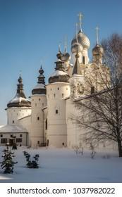 Image of Rostov Kremlin in  snow in winter, Russia