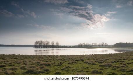 An image of Rutland Water, taken on a spring evening, Rutland, England, UK